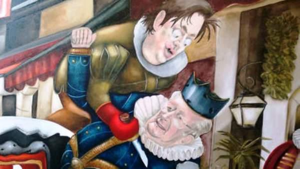 La peinture polémique de l'artiste français Siob : Bart De Wever assassine le roi Albert II.