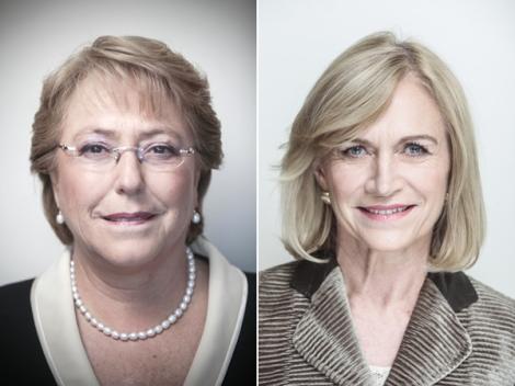 L'ex-présidente socialiste Michelle Bachelet et l'ancienne ministre d'un gouvernement de droite, Evelyn Matthei, les deux grandes rivales de la présidentielle chilienne de novembre prochain.