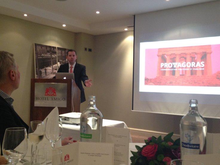 Présentation du Laboratoire lors de la première rencontre de réseautage, le 23 février 2016 à l'hôtel Amigo à Bruxelles.